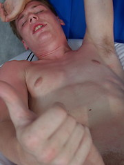 Angel - lovely blue-eyed boy bares his strong cock and gives it a firm handshake