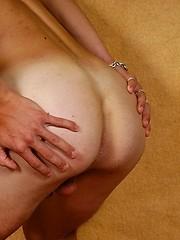 Blond twink boy gets naked