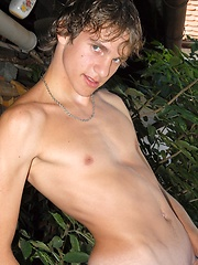 Straight euro boy posing on the backyard