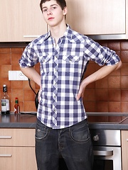 Cute twink Sed Lucas masturbating in the kitchen.